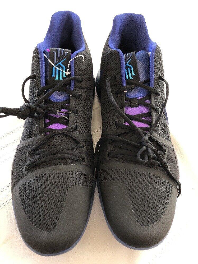 Nike kyrie 3 premi il pulsante nero profondo blu reale 852395-003 18 nuove dimensioni