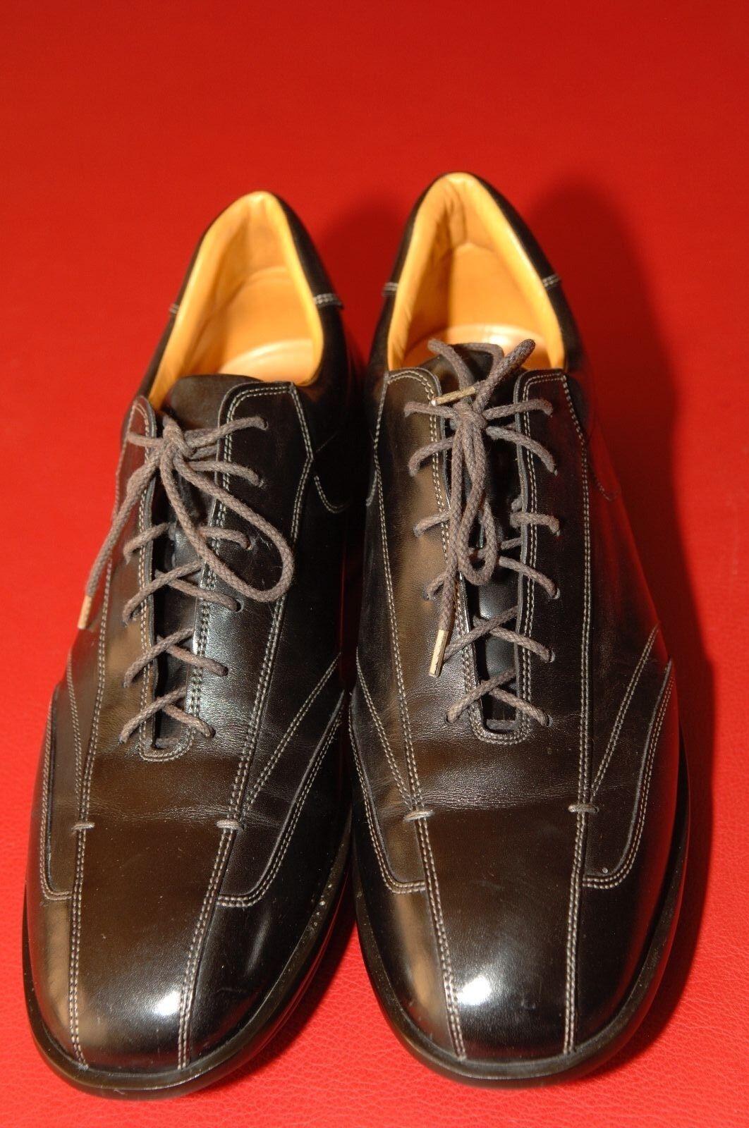 Santoni Club Men's nero Leather Driving Lace-Up scarpe, Dimensione 9 1 2 D, Mint