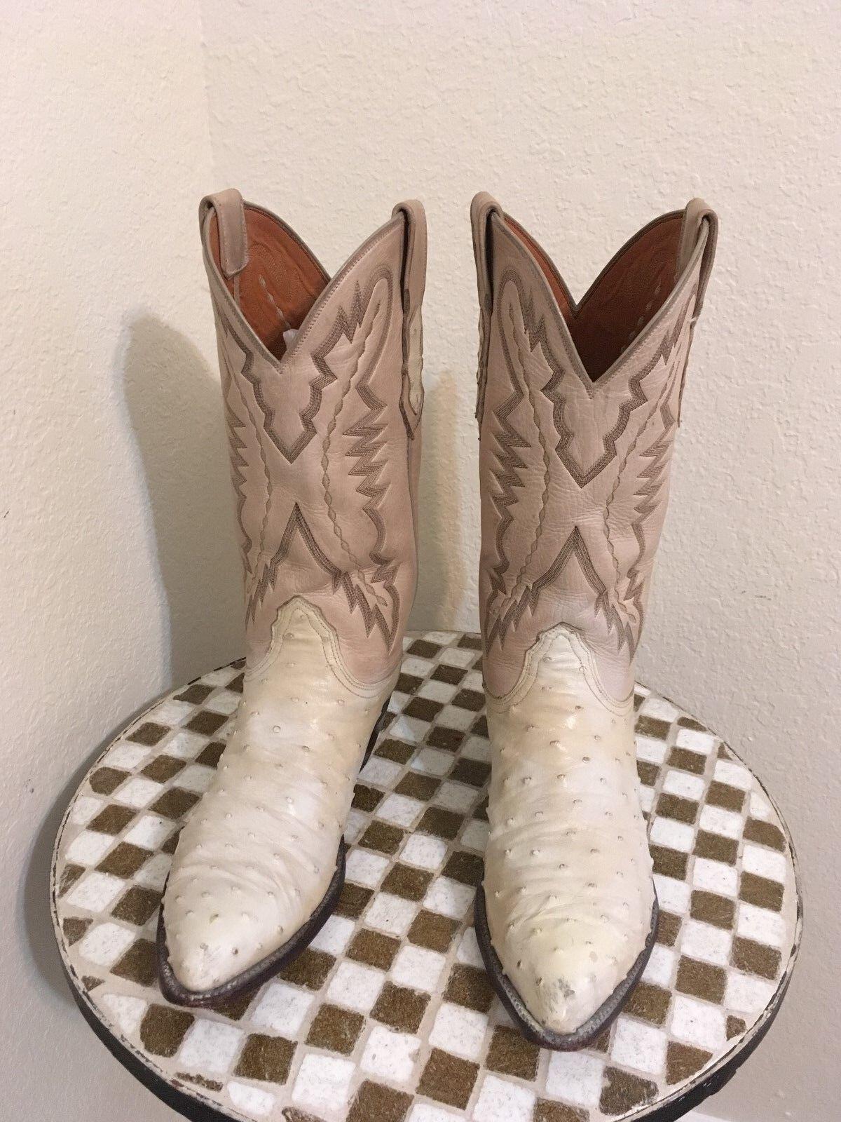 blancoo marfil hueso envejecido LUCCHESE OSTRICH Occidental botas De Vaquero 8.5 D