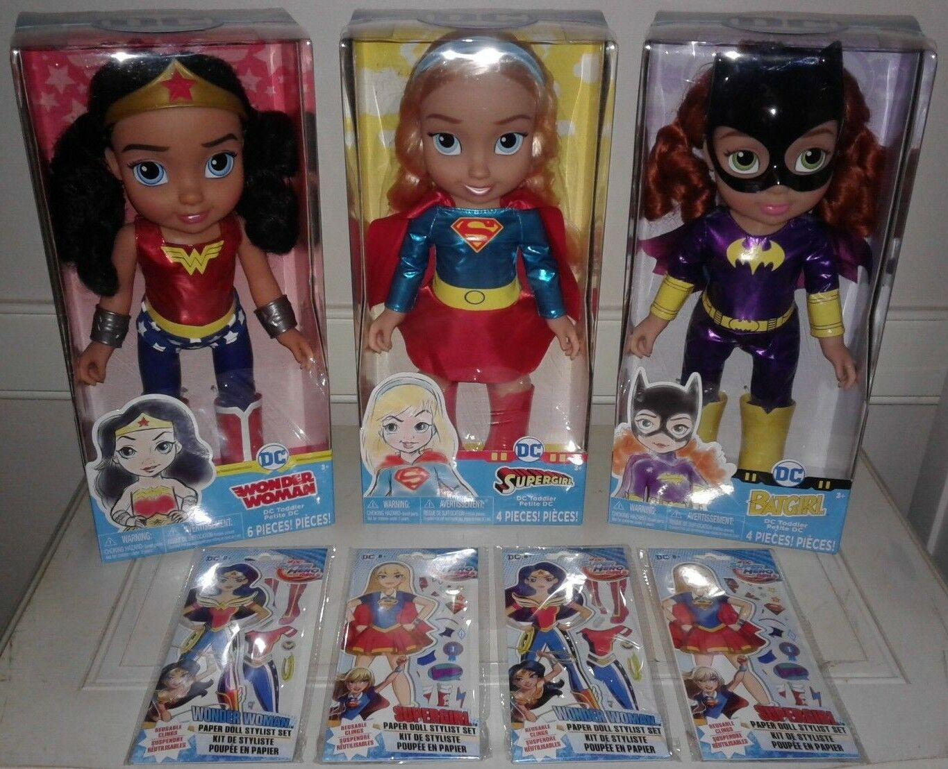 NEW DC Superhero Toddler Dolls Wonder Woman, Batgirl & Supergirl w/Paper Dolls