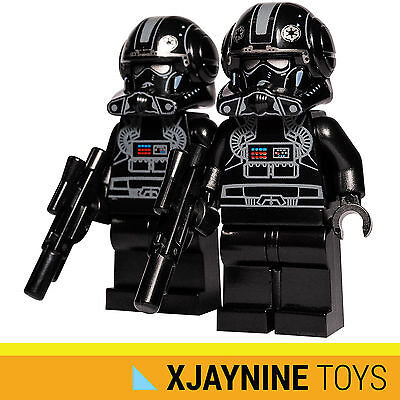 LEGO STAR WARS Black Clone Trooper Stealth Pilot Minifig Two Pack + Blaster NEW
