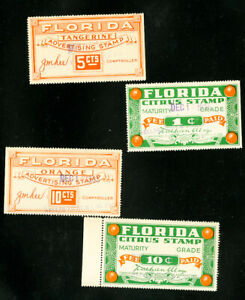 US-Stamps-Floride-Revenue-4-timbres-1935-fruits-theme-OBJETS-RARES
