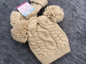 Soft Touch Baby Boys Girls Pom Pom Cable Knitted Hat and Mittens Set Size 0-12