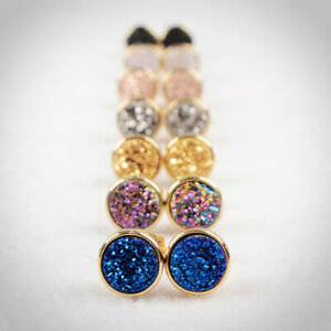 1Pair-8-9mm-Gold-Silver-Rose-Gold-Plated-Round-Titanium-Real-Druzy-Studs-HZG198