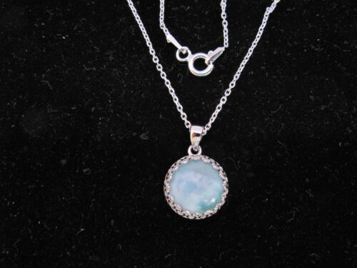 Larimar Natural 10mm Cabochon Crown Pendant .925 Sterling Silver Chain included