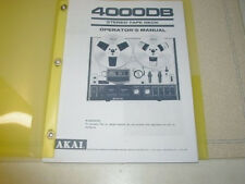 AKAI 4000DB  REEL TO REEL TAPE DECK  OPERATOR'S MANUAL 16 PAGES BOUND IN PLASTIC