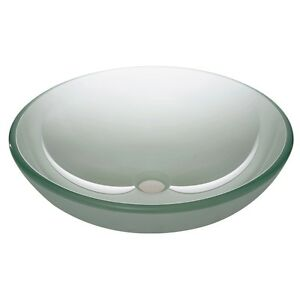 Modern Round Tempered Glass Vessel Sink Bathroom Vanity
