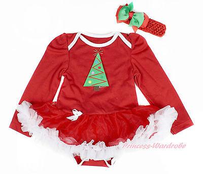 XMAS Tree Red Long Sleeve Bodysuit Red White Pettiskirt Girl Baby Dress NB-18M