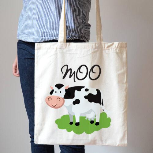 Moo COW MUCCA DIVERTENTE SHOPPING borsa in cotone Canvas Tote Bag t93