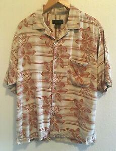 Roberto-Villini-Size-M-Silk-Camp-Shirt-Short-Sleeve-Floral-Brown-Khaki