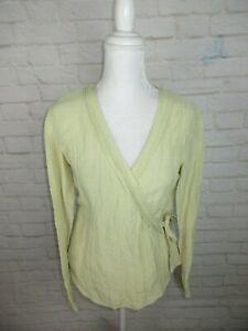 b95eea4006625 J.Jill women s size XS Hemp and Silk Wrap Top Green Ruffle Neck Tie ...
