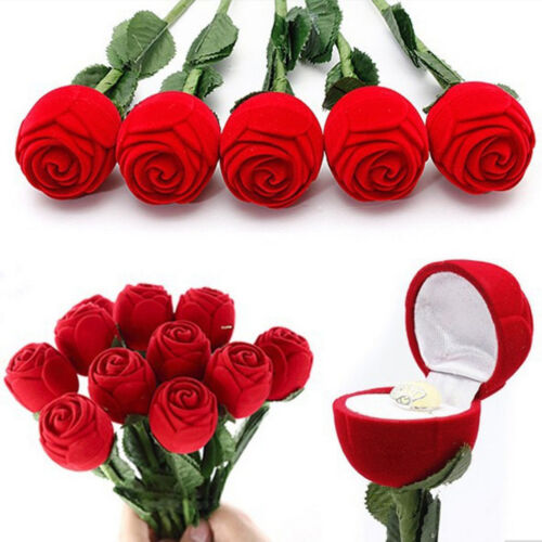 Romantic Red Rose Engagement Wedding Ring Earrings Pendant Jewelry Gift Box Case