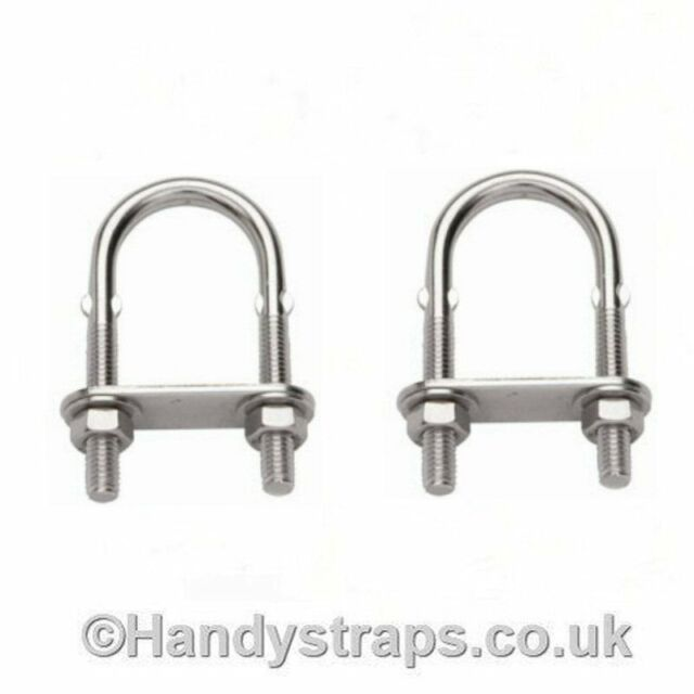 2 x 6mm x 80mm U BOLT & PLATE  Stainless Steel Marine Grade for 29mm pipe
