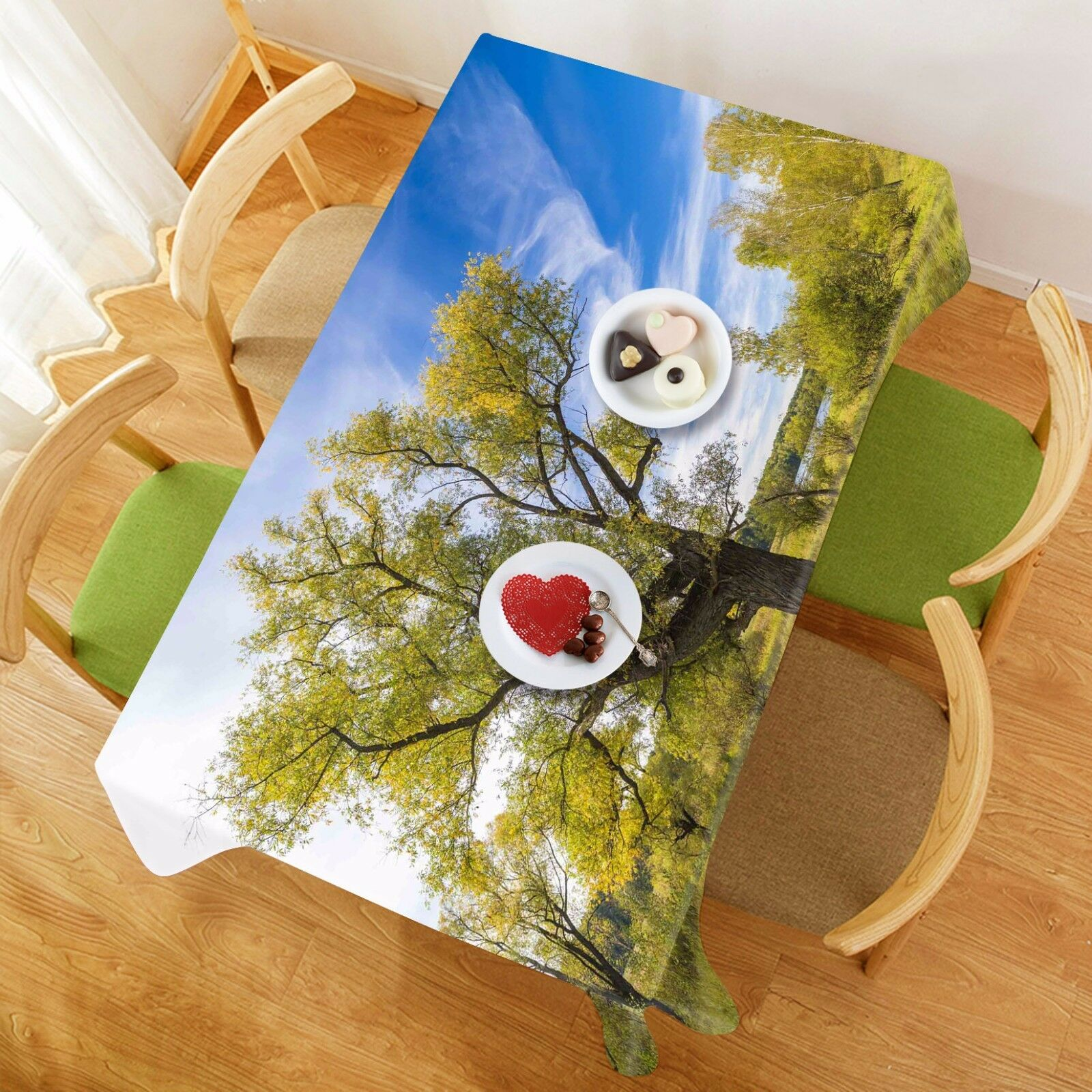3D Tree 44 Tablecloth Table Cover Cloth Birthday Party AJ WALLPAPER UK Lemon