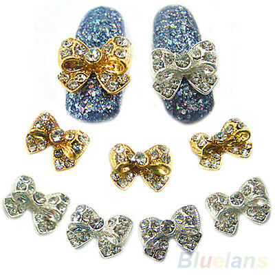 10Pcs Womens Nobby Zircon Alloy Shiny Bow Nail Art Tips Stickers DIY Decorations