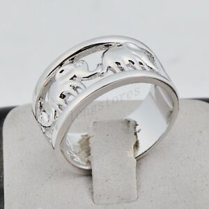 womens white gold filled lucky elephant rings wedding