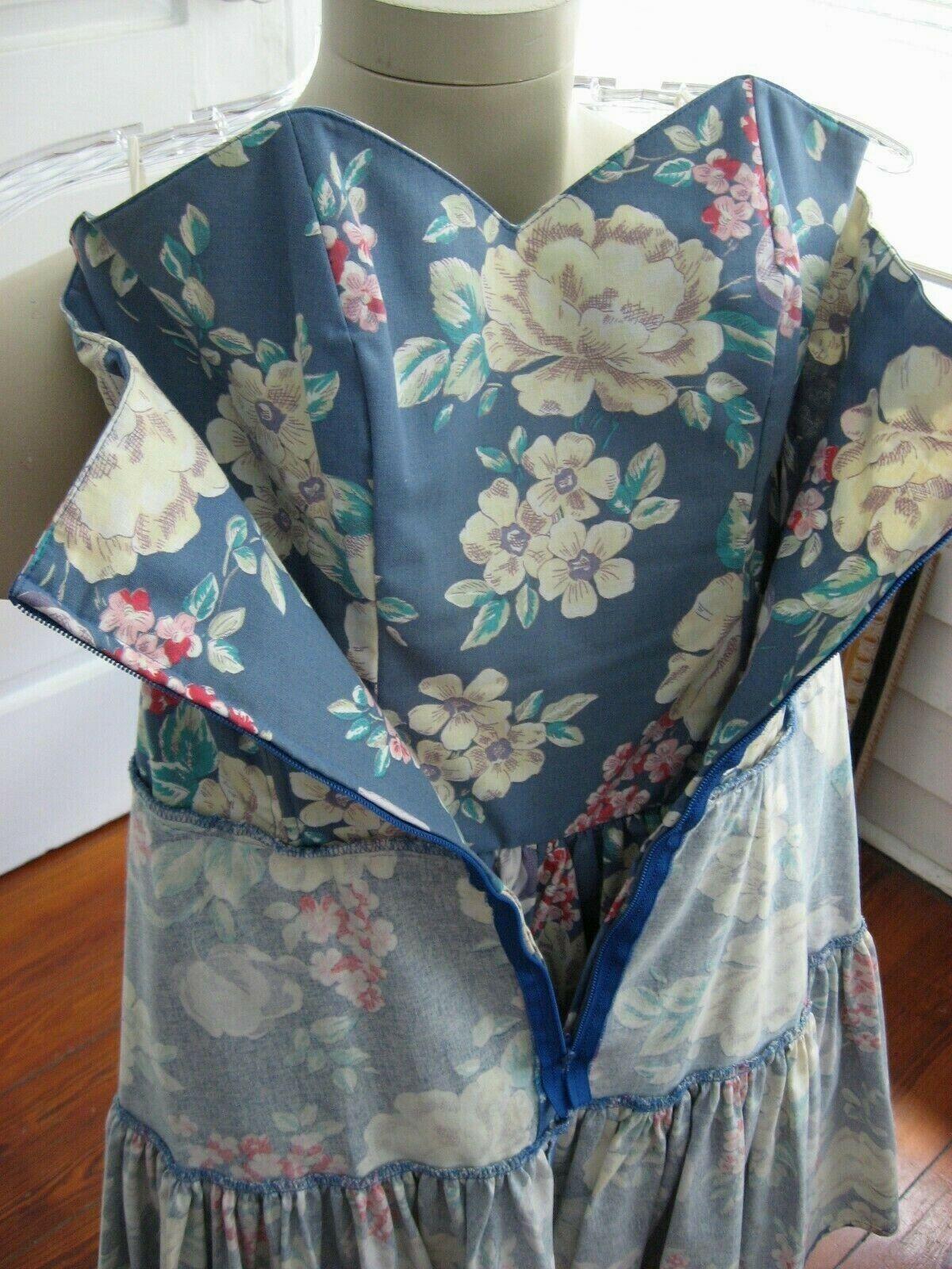 VINTAGE 80s 90s LAURA ASHLEY DRESS STRAPLESS SUND… - image 11