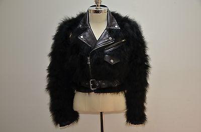 Ralph Lauren Collection Purple Label Shearling Fur Short Biker Leather Jacket 4