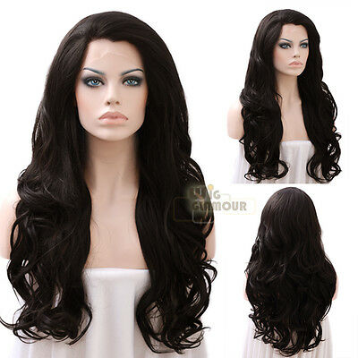"Long Curly Wavy 26"" Natural Black Lace Front Wig Heat Resistant"