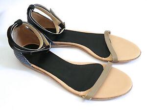 f48f75c2867 Tibi Size 37 Amber Flat Blue Python Embossed Leather Sandal w Ankle ...