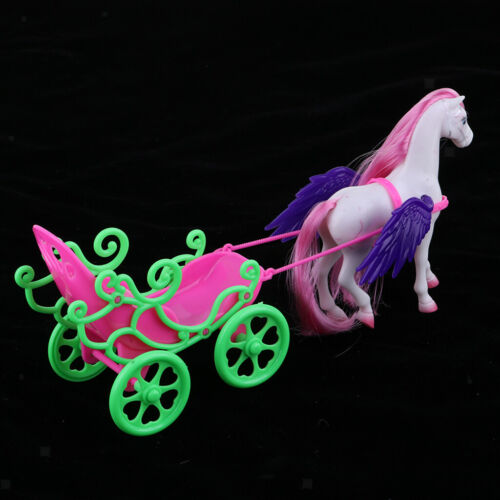 Magical Plastic Horse with Pink Mane and Carriage for 1//6 Girl Dolls Playset