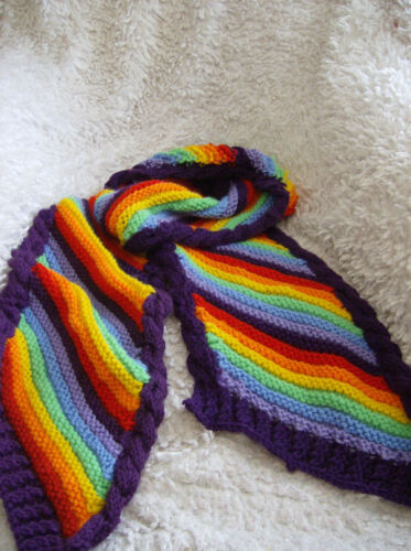 'Rainbow Swirl' Scarf  Ladies/Man (or child)  scarf -Very Easy Knitting Pattern