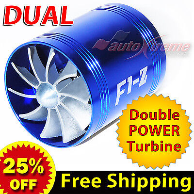 For HYUNDAI Air Intake Dual Fan TURBO Supercharger Turbonator Fuel Saver BLUE
