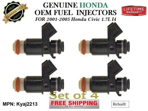 Set//4 Reman Fuel Injectors />2001-2005 Honda Civic 1.7L I4/< OEM Honda MP#Kyaj2213