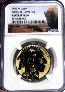 2013 W $50 Reverse Proof Gold Buffalo NGC Rev PF 69 Box & Cert