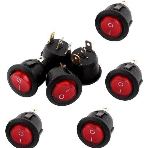 5PCS Rotlicht 3 Pin ein-aus SPST Runde Boot Rocker Switch 6A//250V 10A//125V AC