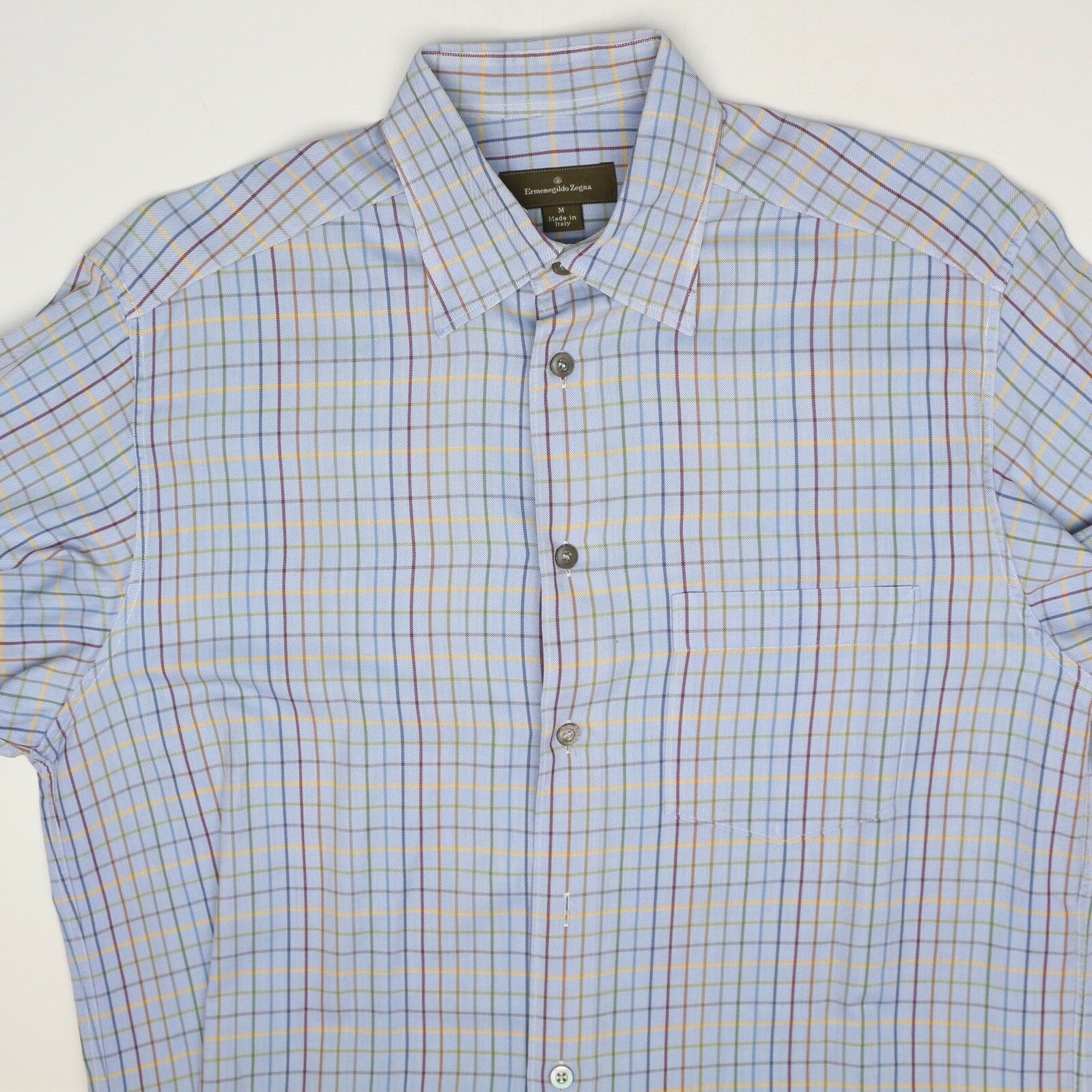 Ermenegildo Zegna Herren Shirt M Blau Mehrfarbig Karo Knopfverschluss  Bund