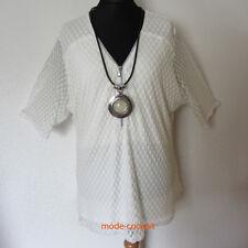 JEAN MARC PHILIPPE stylisches Long Shirt Viskose Netz Lagenlook ecru 52-54 T8