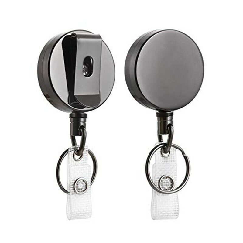 2 Pack Heavy Duty Retractable Badge Holder Reel,Metal ID Badge Holder with B h7
