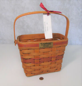 Longaberger-1989-HOLIDAY-MEMORY-9-034-BASKET-w-Handle-Christmas-Collection-Red-GUC
