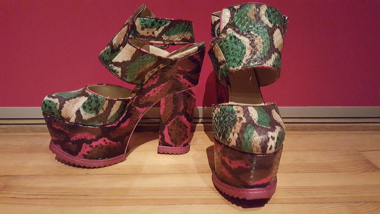 Nicholas Kirkwood Runway Schlangenleder/Phython Pumps grün pink, Neu, Gr. Gr. Gr. 37 450955
