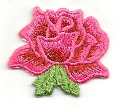 ROSE PINK/WINE RED EMBROIDERED 1 5/8 IRON ON APPLIQUE PATCH