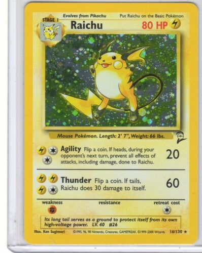 Pokemon Raichu Holo. card