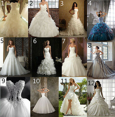 New White/Ivory Wedding Dress Bridal Ball Gown custom size 6-8-10-12-14-16-18