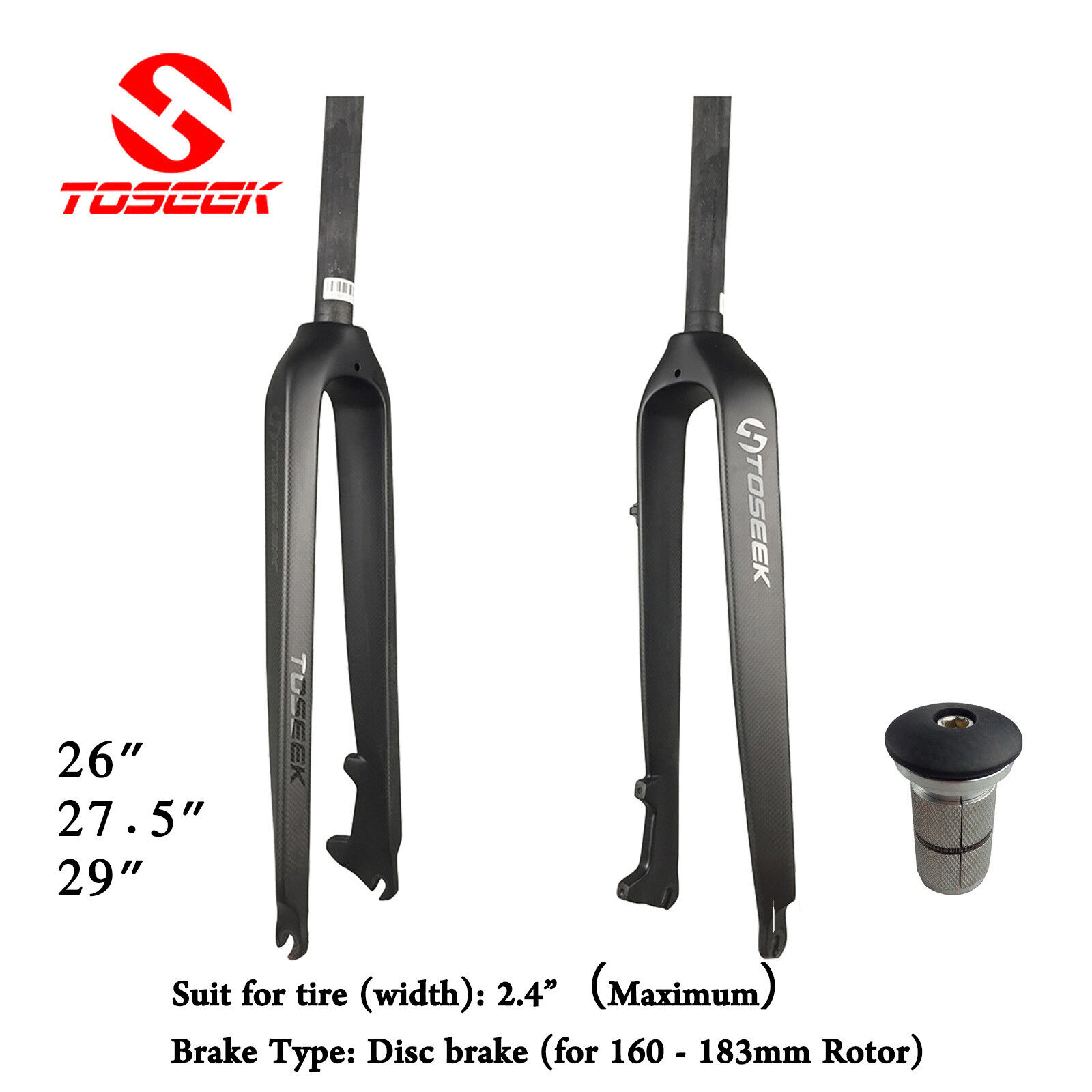 TOSEEK 118 Full Carbon Fiber MTB Fork Disc Brake Rigid Super Light Forks