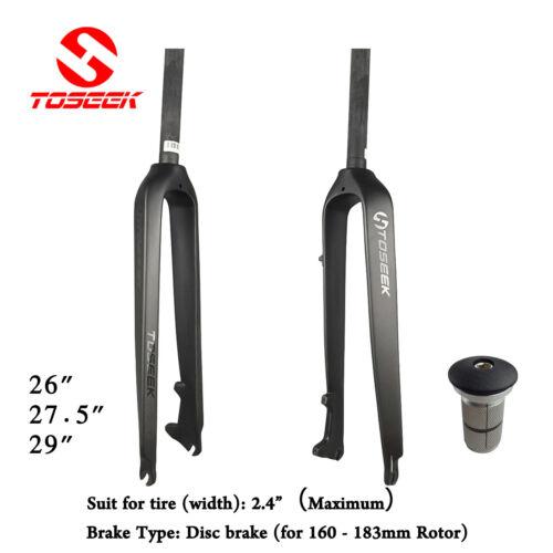 "TOSEEK 1-1//8/"" Full Carbon Fiber MTB Fork Disc Brake Rigid Super Light Forks"