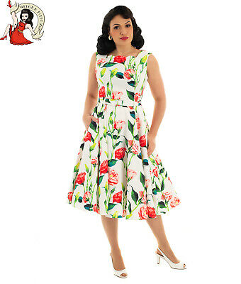 HEARTS and ROSES POLLY 50s DRESS floral PINK audrey SWING 1950s