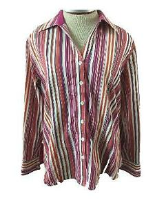 CHICOS-top-blouse-size-2-or-large-12-long-sleeve-pink-brown-stripe-orange