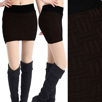 Sexy Brown Womens Stretch Elastic Tube Top Sweater Mini Skirt Club Party Woven
