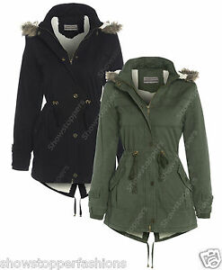 NEW Womens FLEECE LINED PARKA Ladies JACKET COAT FISHTAIL Size 10 ...