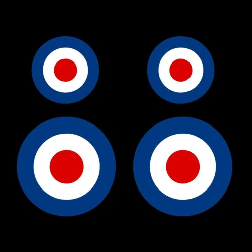 VESPA RAF MOD-Roundel obiettivo-x2 100mm-x2 50mm ADESIVO-FURGONE SCOOTER AUTO