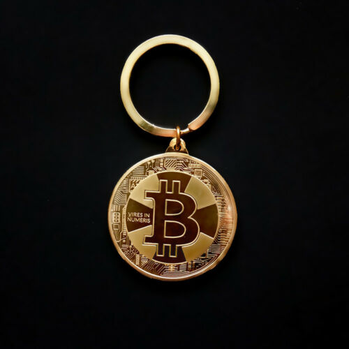 2 x Bitcoin Coin Keychains Keyrings BTC Commemorative Bit Coin Keyfob Key Chain