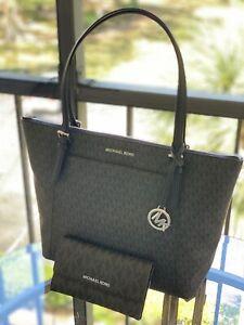 897028e99 Michael Kors Ciara EW Tote Black MK Signature Bag Or Trifold Wallet ...