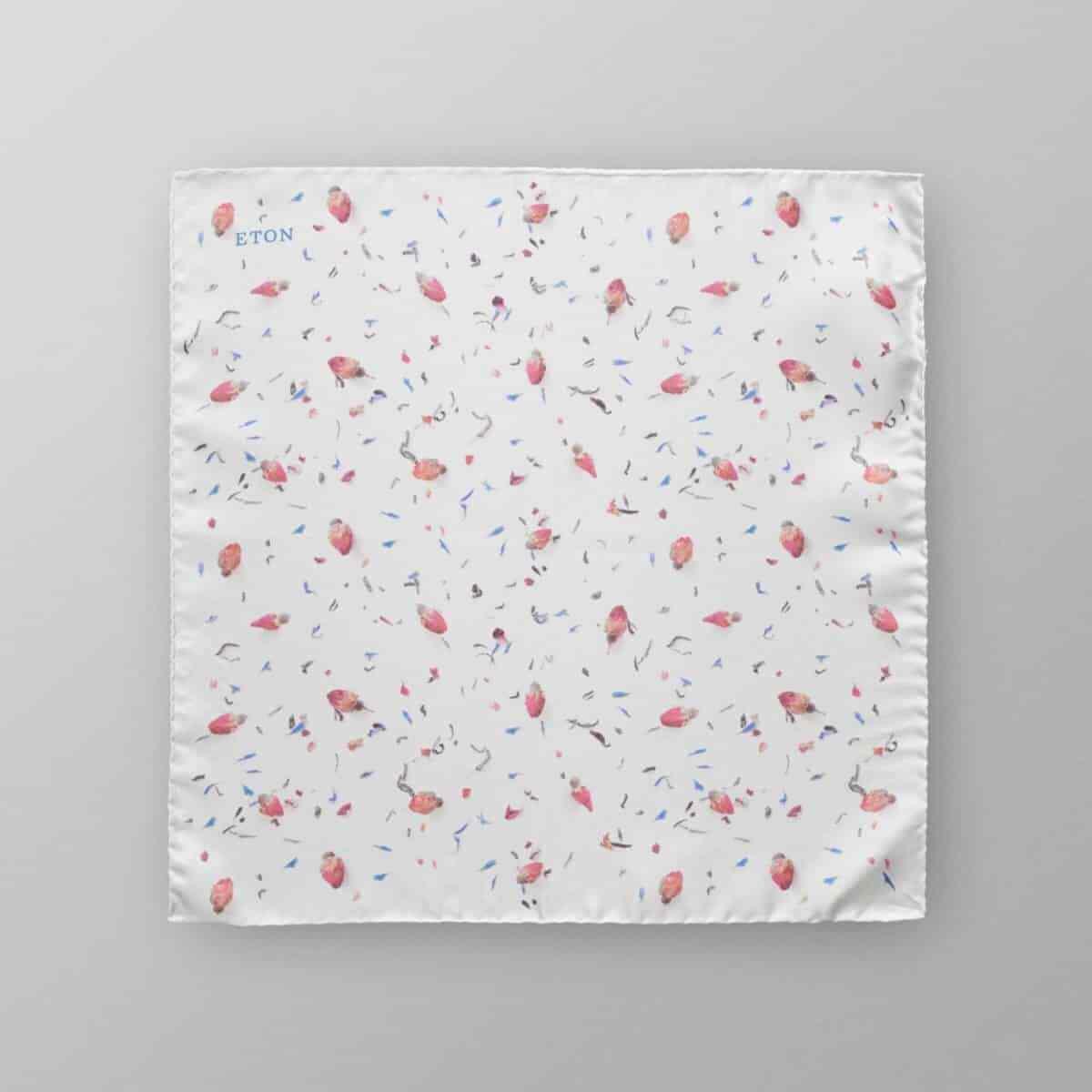 Eton Camisas-Edición Limitada Blanco Seda Bolsillo Cuadrado Con Floral Rose Bud P...
