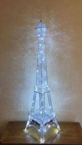 Argent Lampe 130 Cristal Détails Le Permanent Del Cm Sur Eiffel Afficher Maison D'origine Plancher Titre Tour Avec Strass L3jScR54Aq
