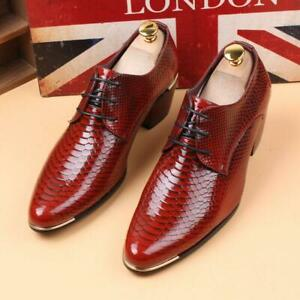 Men-039-s-Lace-Up-Oxfords-Pointed-Toe-Cuban-Heel-Patent-Leather-British-Dress-Shoes
